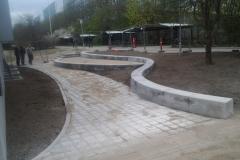 lenktos betoninės atraminės sienelės betonavimas