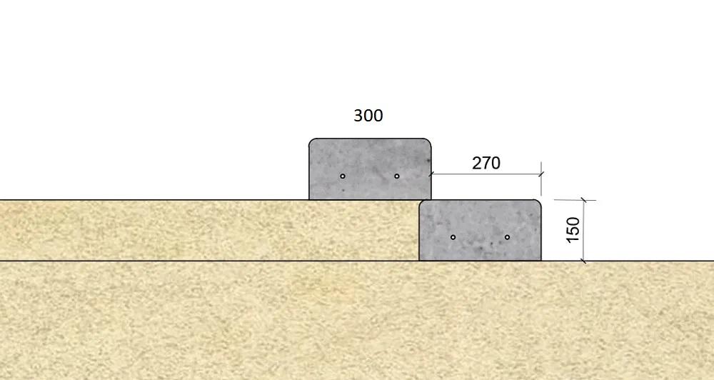 Antroji pakopa įrengiama ant pirmosios pakopos viršaus su 2-3 cm persidengimu